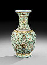 Chinese Turquoise-Ground Porcelain Vase