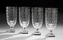 Four Regency-Style Glass Hurricane Lamps