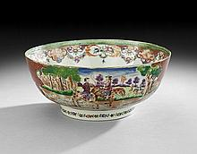 Chinese Export Famille Verte Punch Bowl