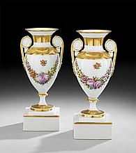 Pair of Ginori Painted Porcelain Garniture Urns
