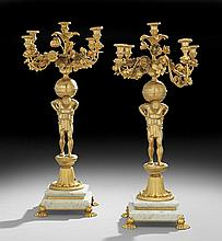 Pair of Regency-Style Bronze & Marble Candelabra