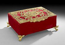 Continental Velvet & Gilt-Bronze Jewel Casket