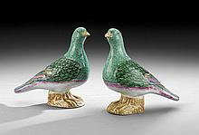 Pair of Chinese Export Porcelain Pigeons