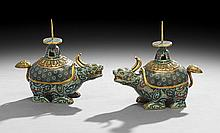 Pair of Antique Chinese Gilt-Bronze Censers