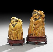 Pair of Japanese Mammoth Ivory Carvings