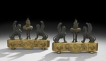 Pair of French Empire-Style Bronze Chenets