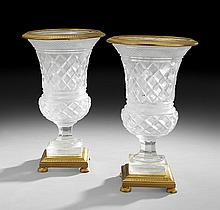 Pair of French Gilt-Bronze and Cut Glass Urns