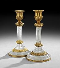 Pair of French Rock Crystal & Bronze Candlesticks