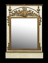 Neoclassical Parcel-Gilt and Painted Mirror