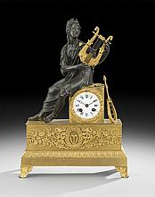 French Bronze Dore et Patine Figural Mantel Clock
