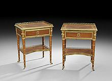 Pair of Napoleon III-Style Mahogany End Tables