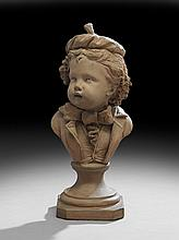 French Terracotta Bust of a Cherubic Boy