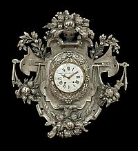 Baroque-Style Nickel Silver Cartel Clock