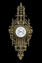French Belle Epoque Gilt-Bronze Cartel Clock