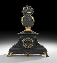 French Neo-Grec Marble and Bronze Mantel Clock