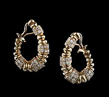Pair of 18 Kt. Yellow Gold and Diamond Earrings