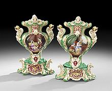 Pair of Paris Porcelain Garniture Vases