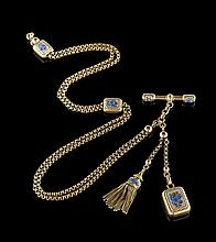 Lady's Antique 18 Kt. Gold and Enamel Watch Chain