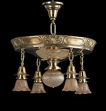 American Late Victorian Embossed Brass Chandelier