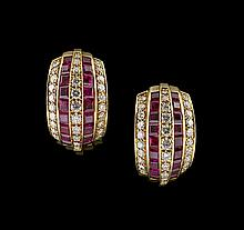 Pair of 18 Kt. Gold, Diamond and Ruby Earrings
