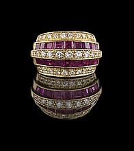 18 Kt. Yellow Gold, Diamond and Ruby Ring