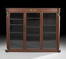 American Mahogany Triple-Section Bookcase