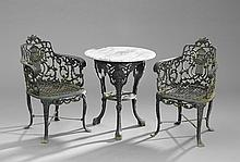 Pair of Cast Iron Garden Armchairs & a Pub Table