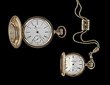 Two 14 Kt. Pocket Watches with Gold-Filled Chain