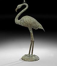 Bronze Flamingo-Form Floor Lamp