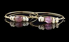 Pair of 18 Kt. Gold, Pearl & Tourmaline Bracelets