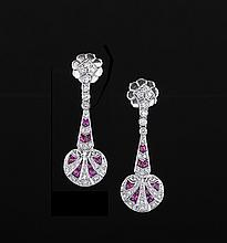 18 Kt. White Gold, Diamond and Ruby Earrings