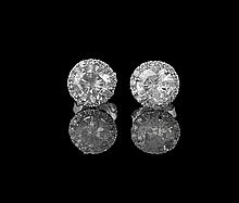 14 Kt. White Gold and Diamond Earrings
