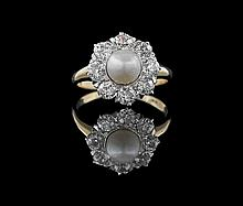 14 Kt. Yellow/White Gold, Pearl and Diamond Ring
