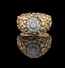 Men's 14 Kt. Gold and Diamond Nugget-Style Ring