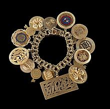 14 Kt.,10 Kt. Gold and Gold-Filled Charm Bracelet
