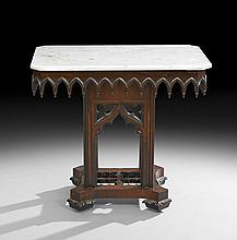 Rare American Gothic Revival Marble-Top Table