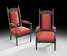 Near Pair of Gothic Revival Child's Armchairs