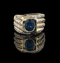 Men's 14 Kt. Gold, Sapphire and Diamond Ring