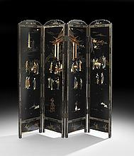 Chinese Inlaid Hardstone Folding Screen