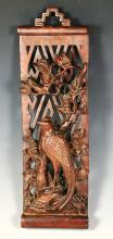 CHINESE ANTIQUE A FINE AND RARE CARVED FLORAL BIRD WOOD PANEL