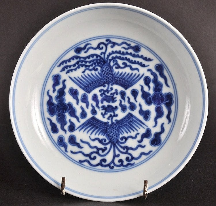 A GOOD CHINESE BLUE AND WHITE CIRCULAR PORCELAIN