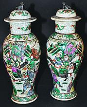 A PAIR OF CHINESE FAMILLE VERTE CRACKLEGLAZE