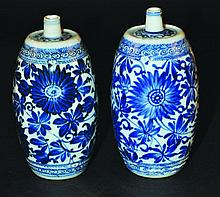 A PAIR OF CHINESE KANGXI PERIOD BLUE & WHITE