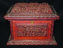 A 19TH CENTURY CHINESE CARVED CANTON SANDALWOOD