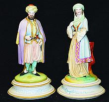 A PAIR OF 19TH CENTURY CONTINENTAL PAINTED BISQUE