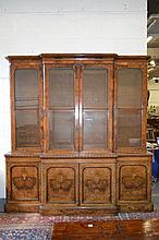 A GOOD VICTORIAN FIGURED WALNUT BREAKFRONT