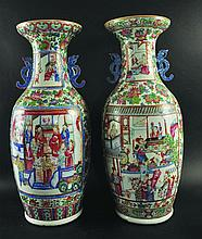 A GOOD LARGE NEAR PAIR OF 19TH CENTURY CHINESE