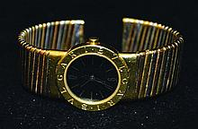 A LADIES BULGARI TWO COLOUR GOLD WATCH AND