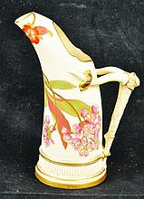 A ROYAL WORCESTER ELEPHANT TUSK JUG, painted and