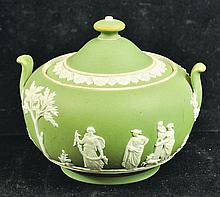 A RARE SAGE GREEN WEDGWOOD JASPER WARE TWO HANDLED